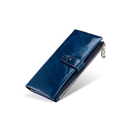 Braune Leder Scheckheft Wallet (Herren Lange Brieftasche braun Leder Clutch Herren Casual Lange Brieftasche Damen Multifunktionshandtasche Retro Anti-Theft Wallet,Royalblue)