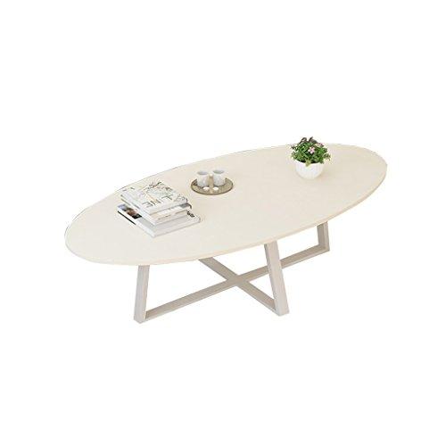 cozyhome AA Balkon Couchtisch, Esstisch oval geformte Holzplatte Metall Wohnzimmer Esszimmer Schlafzimmer Couchtisch Zuhause (Farbe : Weiß)