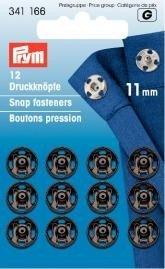 Prym Druckknöpfe zum Aufnähen, 11mm, Messing, Schwarz, 12 Stück -