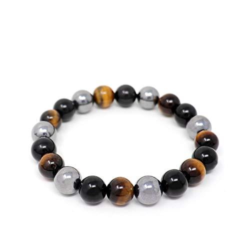 """ojo de tigre y ónix obsidiana negro hematita pulsera de piedra natural para hombres pulsera de cuentas de 10 mm, 8 """""""