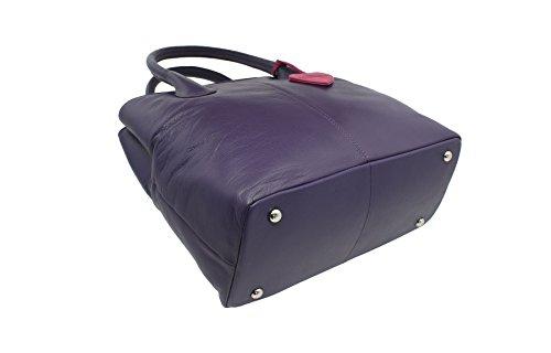 Mala Leather Collezione ANISHKA Borsetta a Mano con Doppia Chiusura Zip in Pelle 799_75 Prugna Porpora