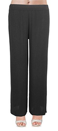 Emma & Giovanni - Pantalones Fluidos Para El Verano- Mujer (Negro, M/L 38/40)