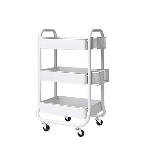Aufbewahrungswagen 3-Tier-Metall-Kinderwagen-Lagerregal Stehende nordische Art-Rollwagen für Küche-Badezimmer-Korb-Stand-Speicher-Wagen UOMUN (Farbe : Weiß) -