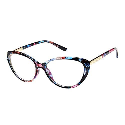 Meijunter Anti Eye Fatigue Gläser - Katze Auge Rahmen Vintage Brille Anti Strahlung Computer TV Unisex Klar Linse Goggle (Blau Blume)