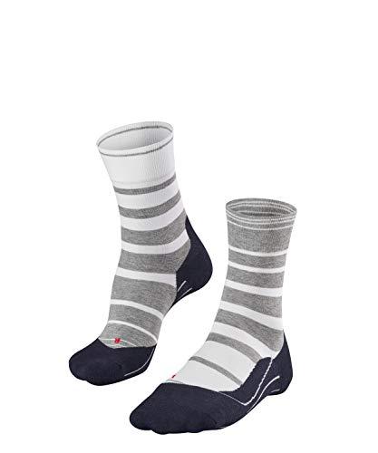 FALKE Damen Socken Laufsocken RU4 Stripe - 1 Paar, Gr. 41-42, grau, feuchtigkeitsregulierend, Sportsocken Running