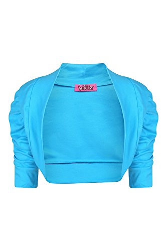 AEL NEU Mädchen Rüschen Ärmel Strickjacke 100% Baumwolle, uni Bolero, Alter Größe 2–13Jahre (Sleeve 4 Strickjacke 3)