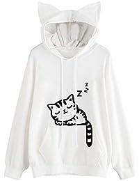 Clearance Sale!! ❤Bluestercool❤Womens Cute Sleeping Cat Printed Casual Long Sleeve Hoodie Sweatshirt Hooded Pullover Tops Blouse for Teenage Girls