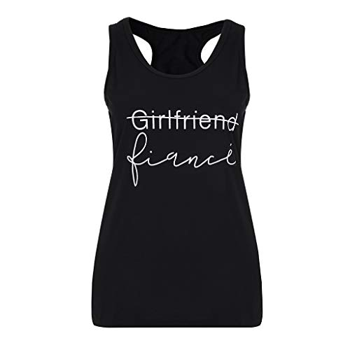 Kviklo Damen Plus Size Mädchen Westen Tank Slogan Buchstaben drucken Camis Ärmellos Top Bluse T-Shirt(4XL(44),Schwarz) -