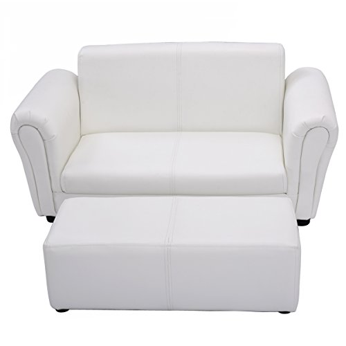 Kindersessel Kindersofa Softsofa Babysessel Kindermöbel Kindercouch Babysofa Spielsofa Sofa Sesselset Fußschemel (White)