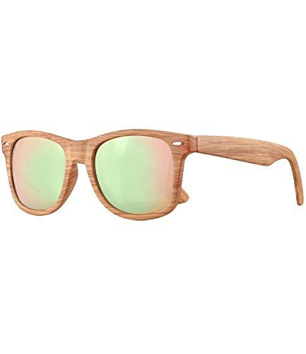 caripe Wayfarer Retro Nerd Vintage Sonnenbrille verspiegelt Damen Herren- SP (Holzoptik natur - rosa verspiegelt-525X)
