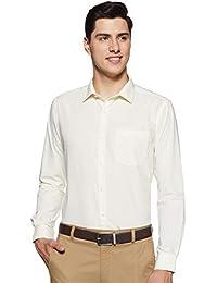 Park Avenue Solid Cotton Light Yellow Slim Fit Cutaway Collar Full Sleeve Shirt