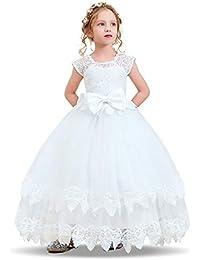 e369c5150 NNJXD Vestido de Princesa del Desfile con Encajes sin Mangas Falda de  Fiesta para Niñas