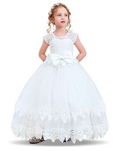 NNJXD Madchen Armellos Stickerei Prinzessin Festzug Kleider Abschlussball Ballkleid, #2 Weiß, 7-8 Jahre / Herstellergröße: 130 (Die Zwei-jahres-baby-mädchen Kleid Für)