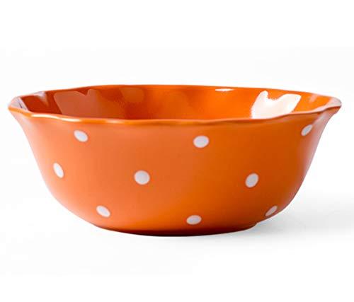 M-SO 700 Ml Porzellan Schale 7 Zoll Lace Polka Dot Schüssel Orange Japanische Design-Bowls Für Cereal/Soup (17.3×6.5Cm) (Orange Dot Polka)