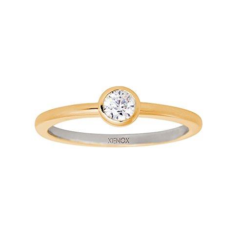Xenox Damen Verlobungsring mit weißem Solitär vergoldet Ringgröße 50