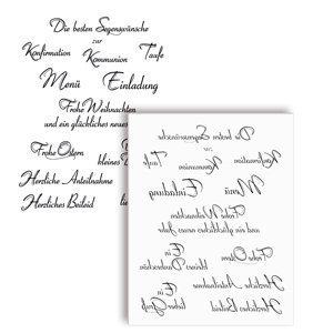 NEU Qualitäts-Silikonstempel 14x18cm, Texte II