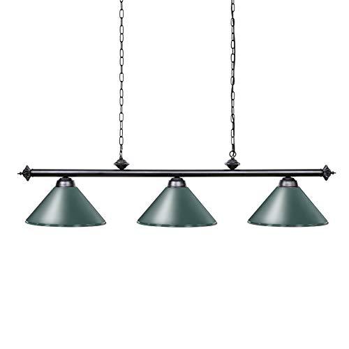Chende Mesa con Lámpara es Adecuada para Mesa de 8 '/ 9' con 3 Sombras de Metal, lámpara de Billar para Man Cave, Sala de Juegos, Restaurante o Comedor(Verde)