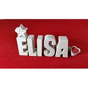 Beton, Steinguss Buchstaben 3D Deko Namen ELISA mit Stern und Herzklammer als Geschenk verpackt! Ein ausgefallenes…
