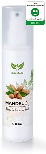 NaturaForte Mandelöl 100ml für Haare, Gesicht, Haut, Nägel, Anti-Falten Anti-Aging Pflege-Kur Serum, Natürlich & intensiv feuchtigkeits-spendend, weiche, junge Haut, glatte Haare & gesunde Nägel