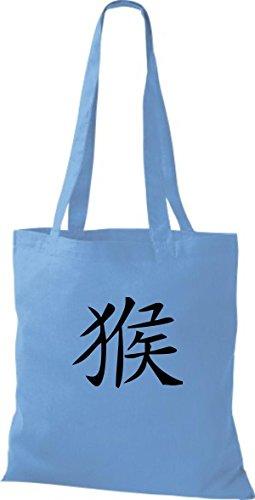 Affe Farbe ShirtInStyle diverse blue surf Schriftzeichen Chinesische Baumwolltasche Beutel Stoffbeutel U44vWqfPwt