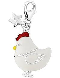 Plata esterlina del encanto del pollo en crudo SCH308