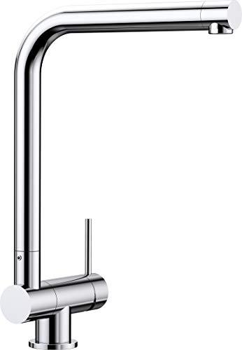 Blanco Laressa-F, Vorfensterwasserhahn, umklappbare Küchenarmatur für die Platzierung vor dem Fenster, Vorfenster-Armatur, Bedienhebel rechts, Oberfläche chrom, Hochdruck, 1 Stück,521545 -