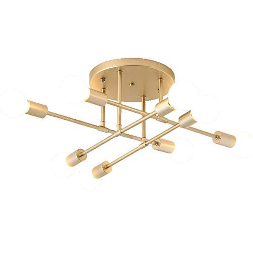 CSDM.AI 6-8 Lichter Sputnik Kronleuchter Halb Flush Montieren Satelliten Deckenleuchte Ceiling Lights Edison Hängelampe Für Wohnzimmer Schlafzimmer Insel,Gold,8heads -