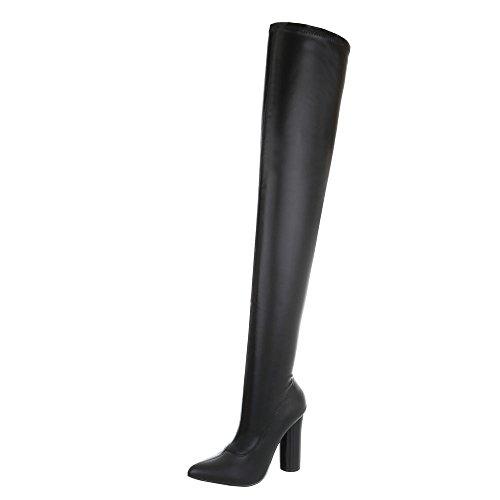 Ital-Design Overknees Damen-Schuhe Overknees Pump High Heels Reißverschluss Stiefel Schwarz, Gr 39, Jr-008-