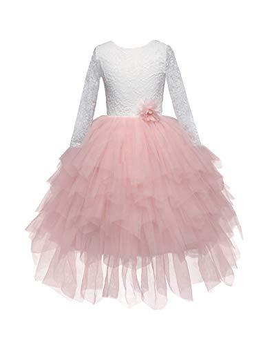 besbomig Spitze Blumenmädchen Geburtstag Party Tutu Kleid für Kinder mit Langen Ärmeln 3-8 Jahre - Layered Kleider