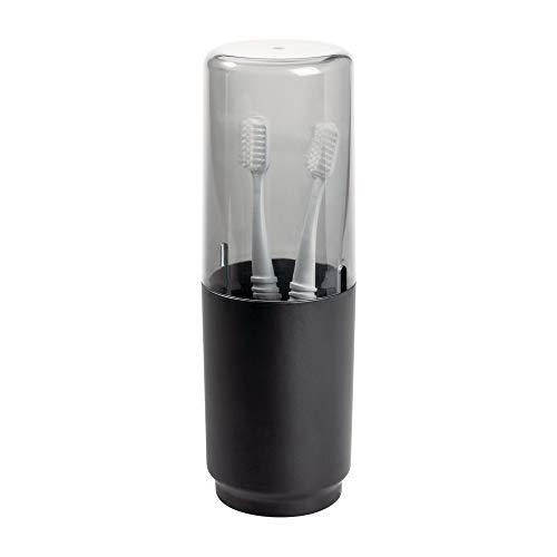Idesign austin portaspazzolino bagno da appoggio, porta spazzolini con coperchio in metallo e plastica, nero opaco, 7.6 cm di diametro x 22.9 cm