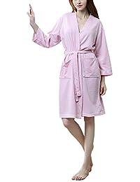 DianShaoA Albornoz para Hombre Y Mujer Kimono Batas Cortos Lencería De Aspecto Brillante SPA Hotel Sauna