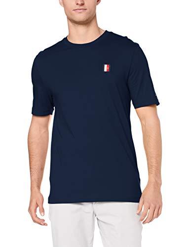 Tommy Hilfiger Herren T-Shirt Icon Woven Label Marine (52) XL