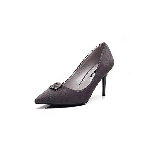 La punta sottile con alta scarpe tacco fine con fondale basso per foratura ad alta scarpe tacco temperamento unico Calzature Calzature donna Gray