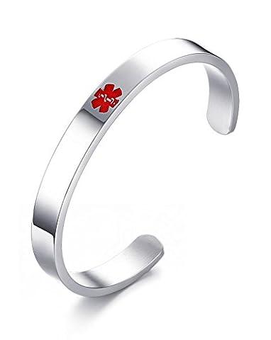 Vnox Free Engraving Stainless Steel Medical Alert ID Cuff Open Bangle Bracelet,64.5mm Diameter