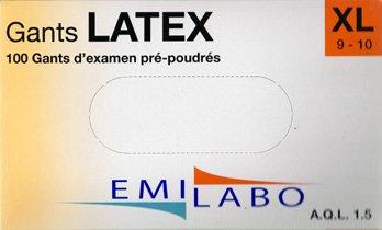 Emilabo Latexhandschuhe, mit Puder, Größe XL (9–10), 100Stück