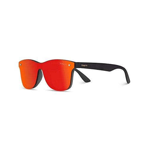 Senna nicht polarisiert Sonnenbrille mit 100% UV-Schutz - modische Designer Brille für Damen und Herren im Vintage Retro Design - Unisex Brillengestell mit hochwertigem Polycarbonat Rahmen & Etui (Black Fire)