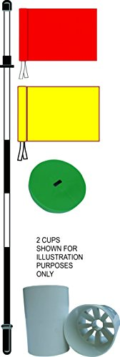 Flag Pin, RED AND YELLOW Flag & hole cup & CUP COVER (Professional one piece 6ft pin) -