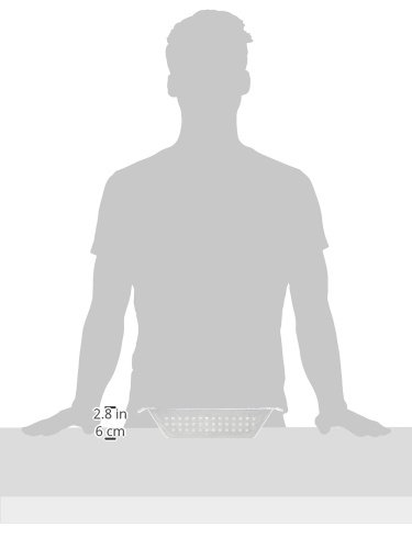 317bgM36fkL - Bruzzzler Grill-Korb aus Edelstahl, für Grill und Backofen, bräunt Fleisch, Fisch und Gemüse gleichmäßig, einfache Reinigung in der Spülmaschine, 28 x 34 x 7 cm