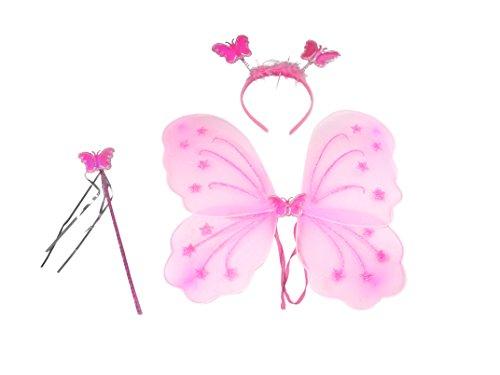 Feenkostüm mit Flügeln, Haarreif und Zauberstab - passt auch Erwachsenen (Glitzer Feen Kostüme)