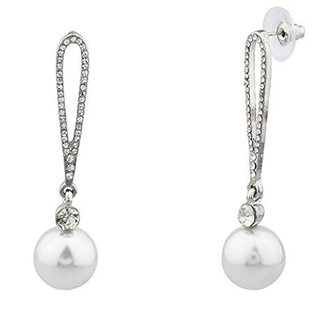 Lux Accessoires Pavé Cristal Fausse Perle mariée mariage demoiselle d'honneur mariage–Boucles d'Oreilles Pendantes Femme –