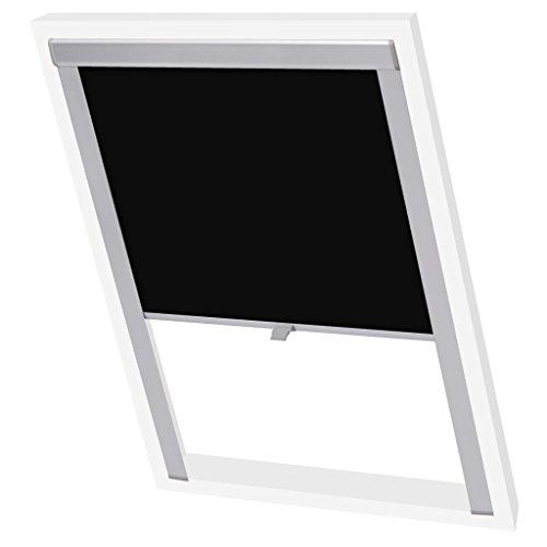 vidaXL Verdunklungsrollo für Velux Verdunkelung-Dachrollo Dachfensterrollo Schwarz 206