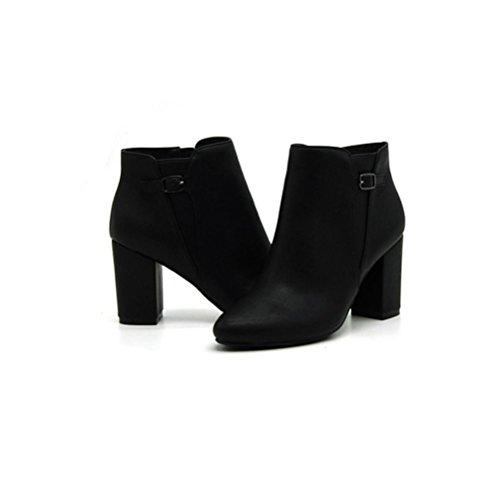 QPYC Donne Donne Pointed Short Boots Rough Heel Stivali PU Set Piede Confortevole Side Zipper Femmina Nero Boots Nero black