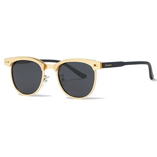 kimorn Polarisierte Sonnenbrille Unisex Retro Halb-Randlos Metall Rahmen Gläser K0558 (Gold&Schwarz)