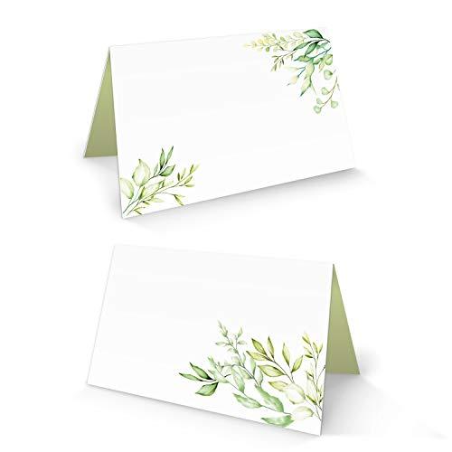 Logbuch-Verlag 50 Tischkarte weiß grün hellgrün Blätter Blume Namensschild Sitzkarte kleine Kärtchen für Namen Tischdeko Hochzeit Kommunion Geburtstag FÜR JEDEN Stift