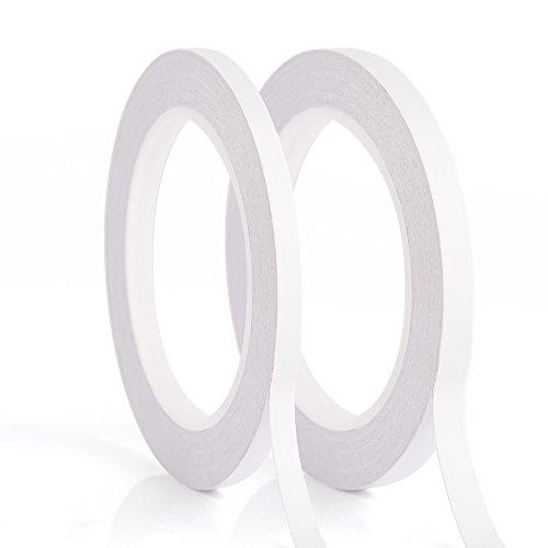 Kuuqa 2 Rollen Selbstklebendes doppelseitiges Klebeband zum Handwerksklasse Büro DIY mit 25 Meter pro Rolle(6mm und 9mm) -
