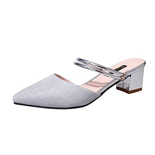 OrchidAmor Cozy Damen Fashion Pailletten Spitzen Hausschuhe High Heel Sandalen Damen Strand Sandalen, Silber (Silber), 37 EU Bcbg Paris