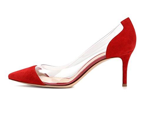 EDEFS - Scarpe col Tacco Donna - Tacco Gattino - Trasparente Scarpe Red