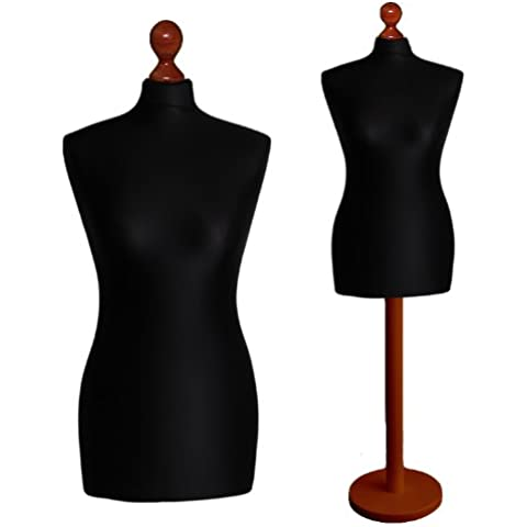 LUK-MAL Maniqui Busto de señora de la talla 46/48 (Size XXL), Funda en color negro, Base base madera redonda en color
