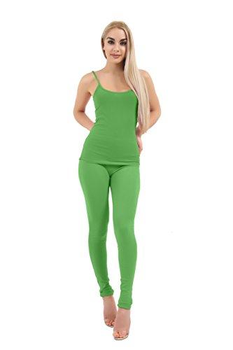 Momo&Ayat Fashions Ladies Soft Comfortable Full Length Cotton Leggings UK Size 8-26 (Green, UK 12 (EUR 40))