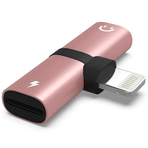 LEONAS Kopfhörer Adapter Lade-Adapter kompatibel mit iPhone XS, XR, XR Max, X, 8, 8 Plus, 7, 7 Plus, iPad 4, Pro, Mini, 2 - in Rose (Ipod Kopfhörer-adapter)